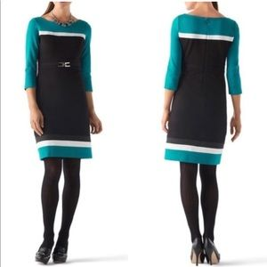 WHBM Belted Color Block Belted Ponte Dress Size 4